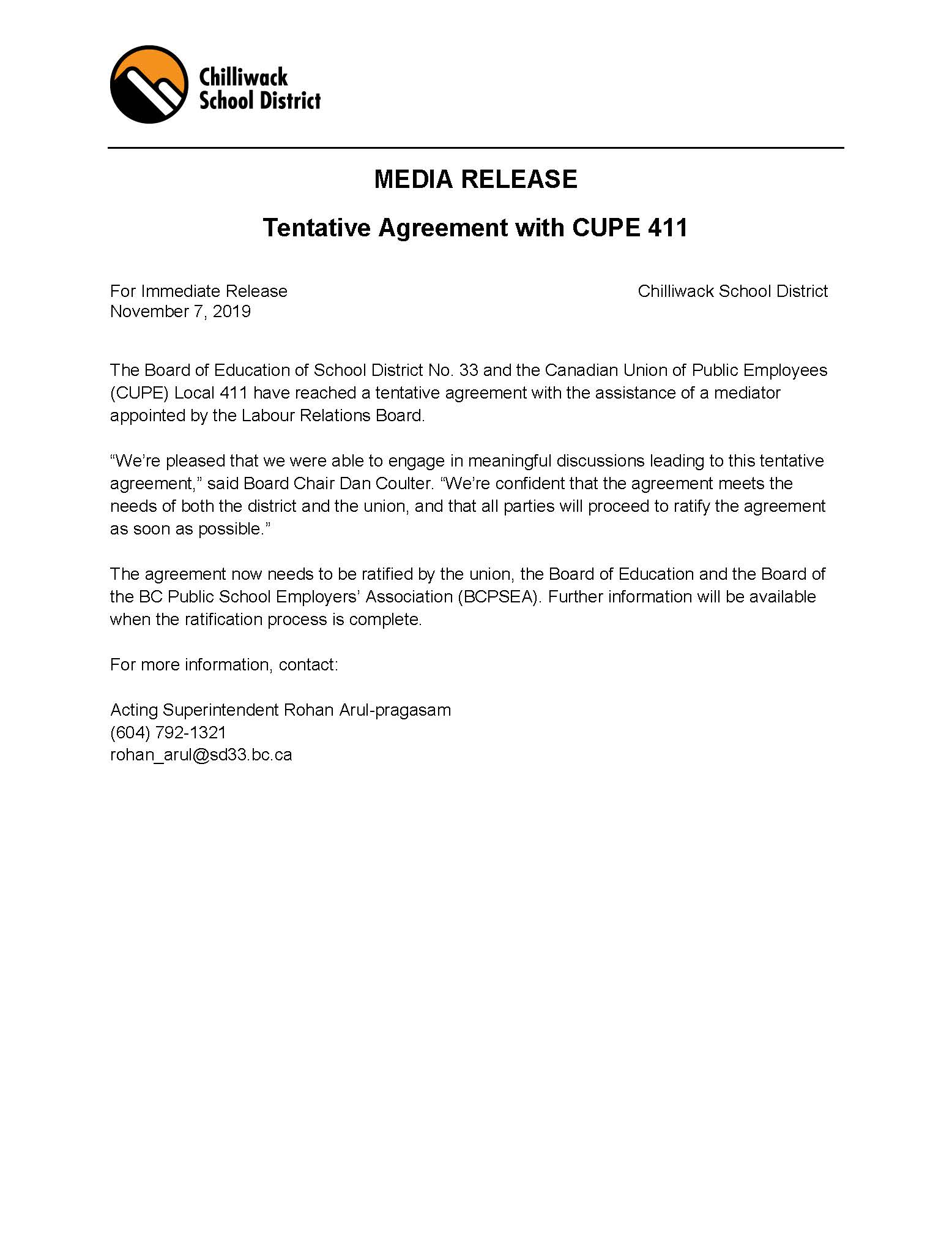 Media Release: Tentative Agreement with CUPE 411